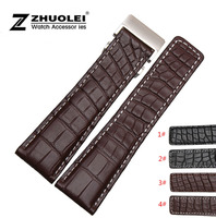 Watch band 22mm 24mm New Mens Brown Genuine Alligator Leather Watchs Strap Bracelets Silver Stainless Steel Watch Buckle Clasp