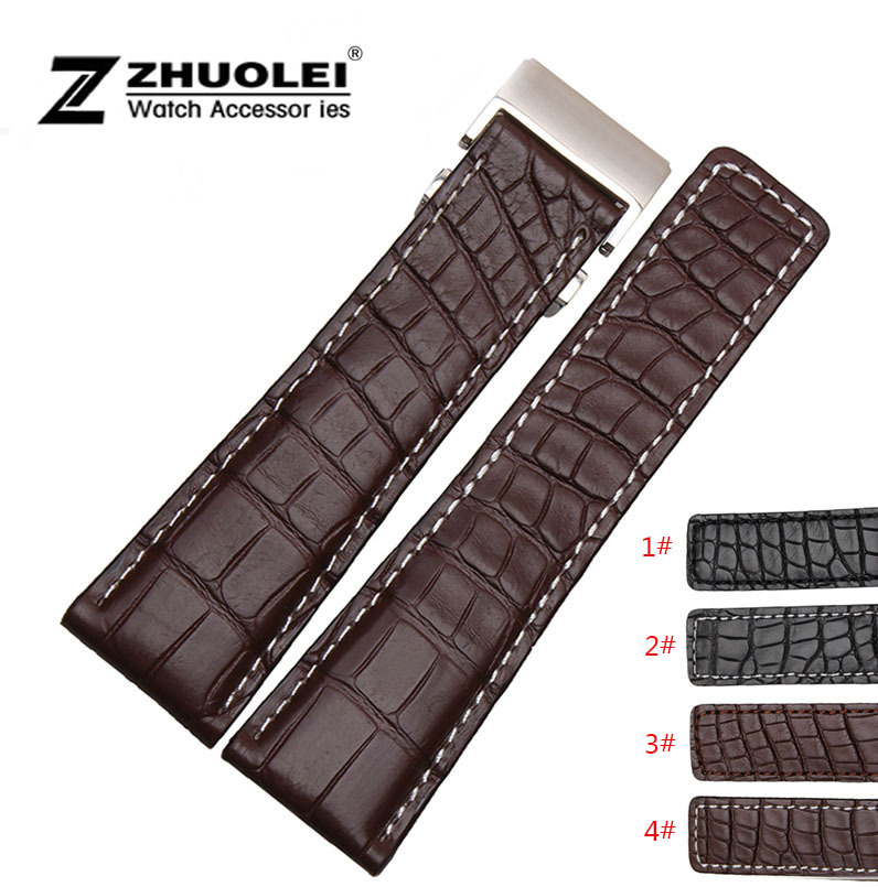 Watch band 22mm 24mm New Mens Brown Genuine Alligator Leather Watchs Strap Bracelets Silver Stainless Steel Watch Buckle Clasp цена