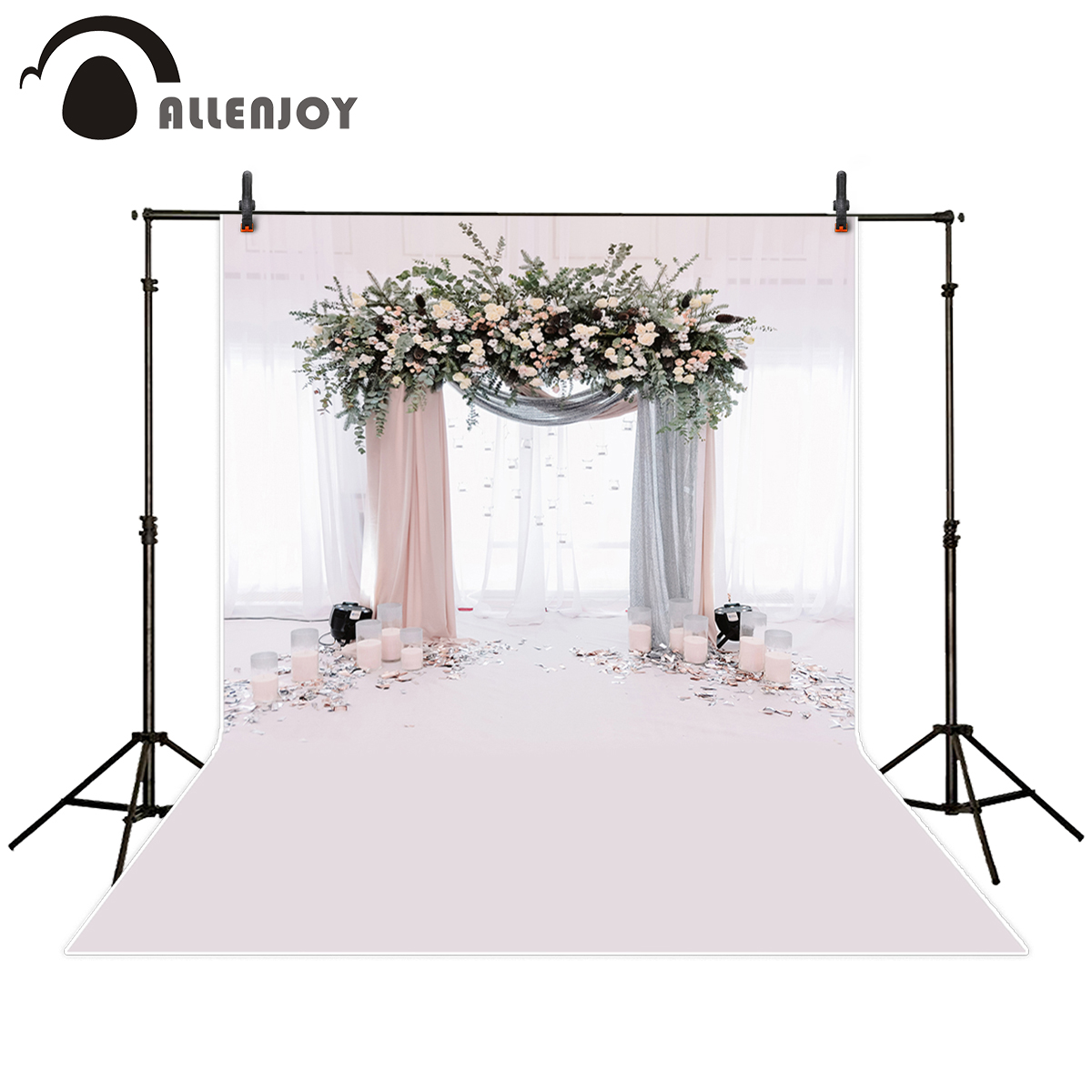 Allenjoy photography backdrop beautiful wedding archway flowers Romantic background photo studio new design camera fotografica
