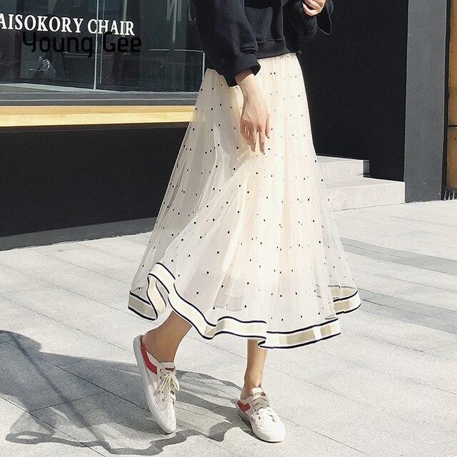 Jong Gee Polka Dot Mesh Rok Vrouwen Zwart Wit Roze Mode Mid Kalf Rokken Zomer Elegant Geplooide Kant Rok saia Midi Faldas