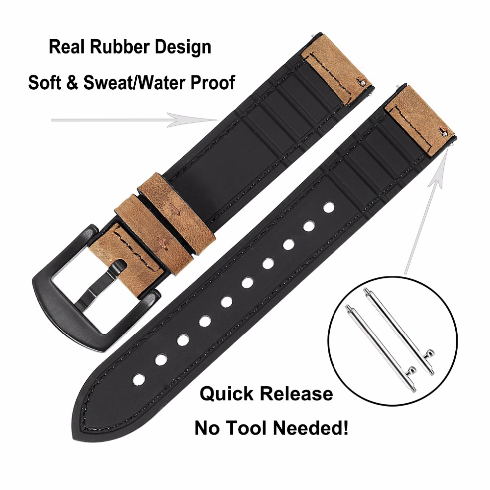 Image 4 - TRUMiRR Genuine Leather & Silicone Rubber Band +Screen Protectors for Samsung Galaxy Watch 46mm 42mm Watchband Steel Clasp Strap-in Watchbands from Watches