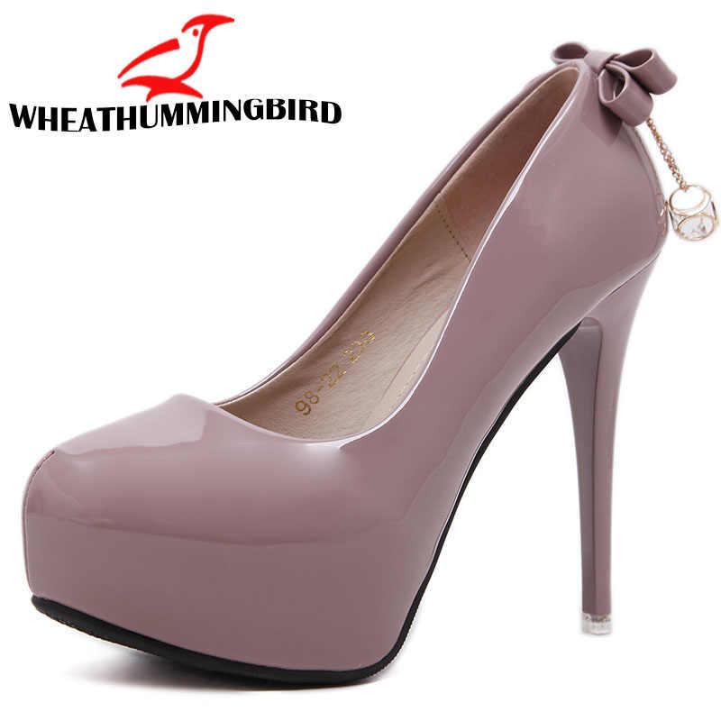 Moda kadınlar Süper Yüksek Topuklu ayakkabı Muhtasar 4 CM platform ayakkabılar pompalar Düğün Parti Seksi 12 cm yay deri ayakkabı MC-56