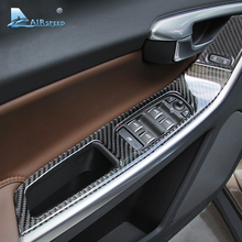 Airspeed Carbon Fiber Window Switch Button Frame Armrest Cover Trim for Volvo XC60 S60 S60L V60 Accessories Interior Car Sticker