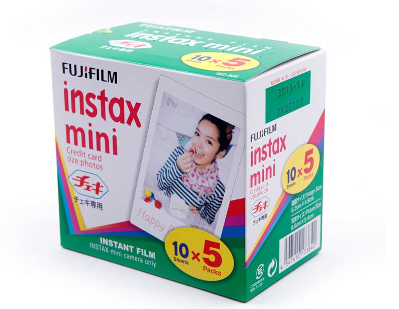 50 feuilles Original Fujifilm Fuji Instax Mini Film blanc feuille 3 pouces pour Polaoird mini 7 7 s 8 10 20 25 50 s 50i SP1 dw