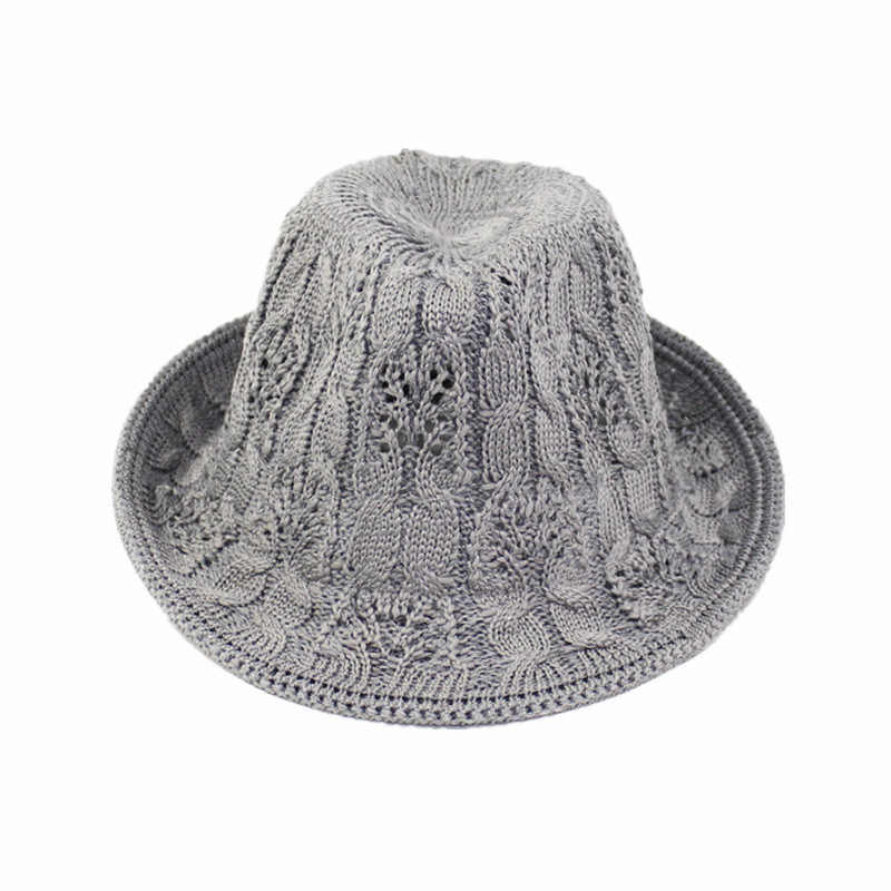 62f85441c8d684 Detail Feedback Questions about Knitting Wide Brim Pure Felt Bowler Hat  Cutout Jazz Hat For Women Girls Summer Sun Female Casual Cotton Knitted  Bowler Caps ...