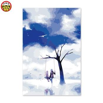 Картина по номерам художественная краска по номерам Мужская и женская друзья Бог поле качающийся глубокий синий мультфильм diy Цифровая мас...