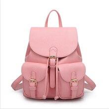Ecoparty 1 черный Bolsas Mochila Feminina большой для девочек Школьный Дорожная сумка одноцветное Карамельный цвет розовый beigewomen кожаный рюкзак
