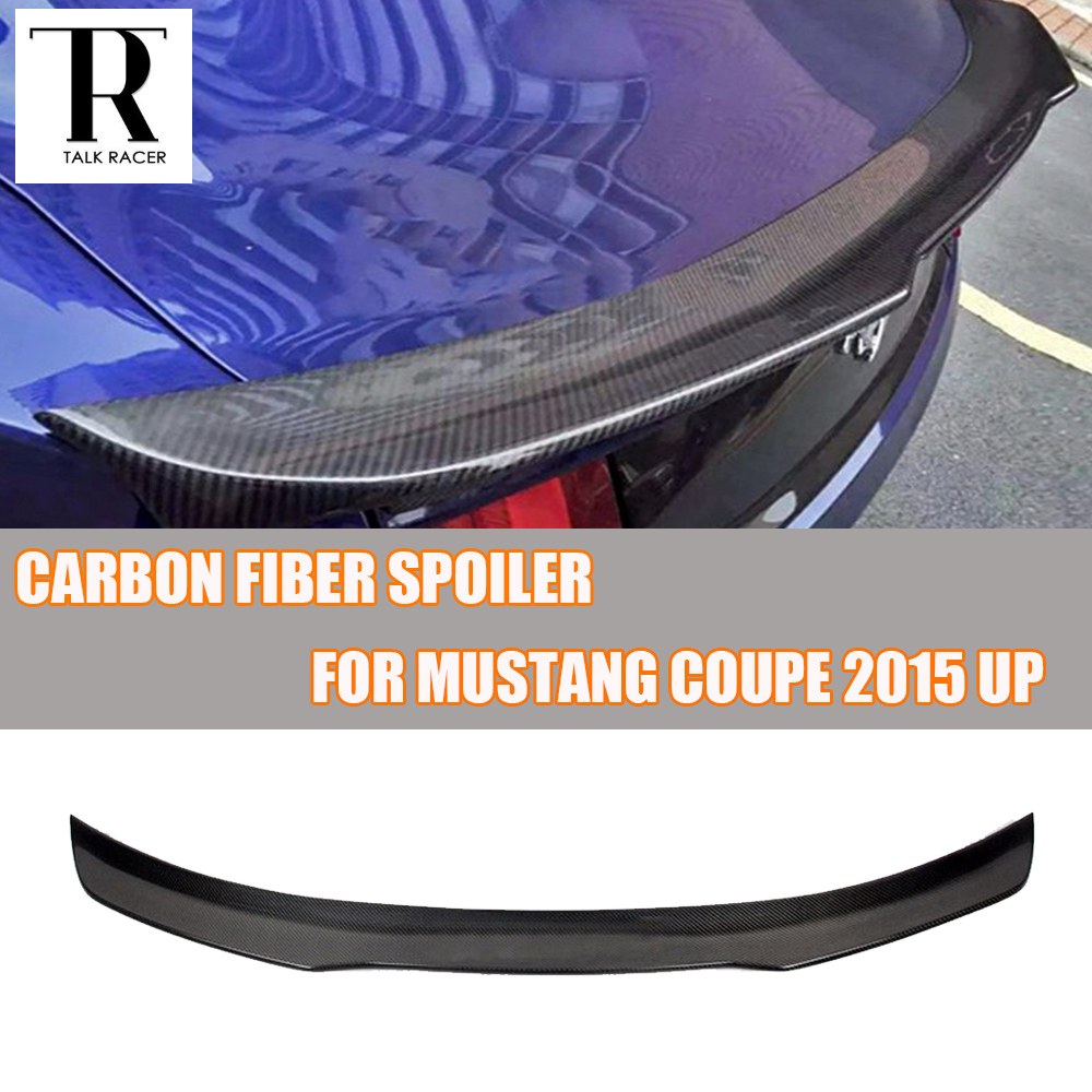 Mustang Carbon Fiber Rear Trunk Spoiler Wing for Ford Mustang 2015 2016 2017 Auto Racing Car Styling Tail Lip Wing pu rear wing spoiler for audi 2010 2011 2012 auto car boot lip wing spoiler unpainted grey primer