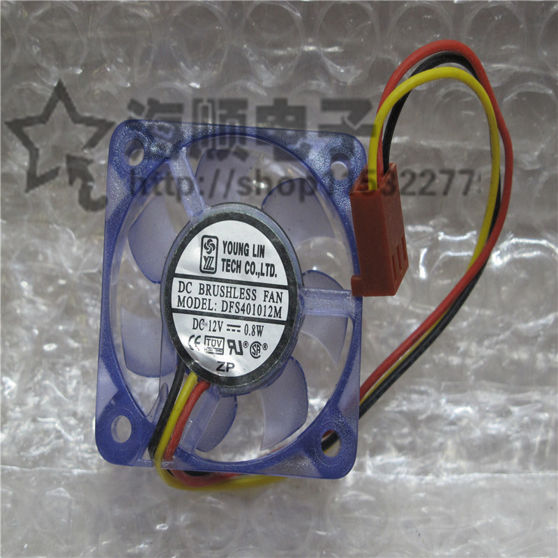 Original DFS401012M DC12V 0.8W 40 * 40 * 10MM 4CM three-wire transparent cooling fan new original bp31 00052a b6025l12d1 three wire projector fan