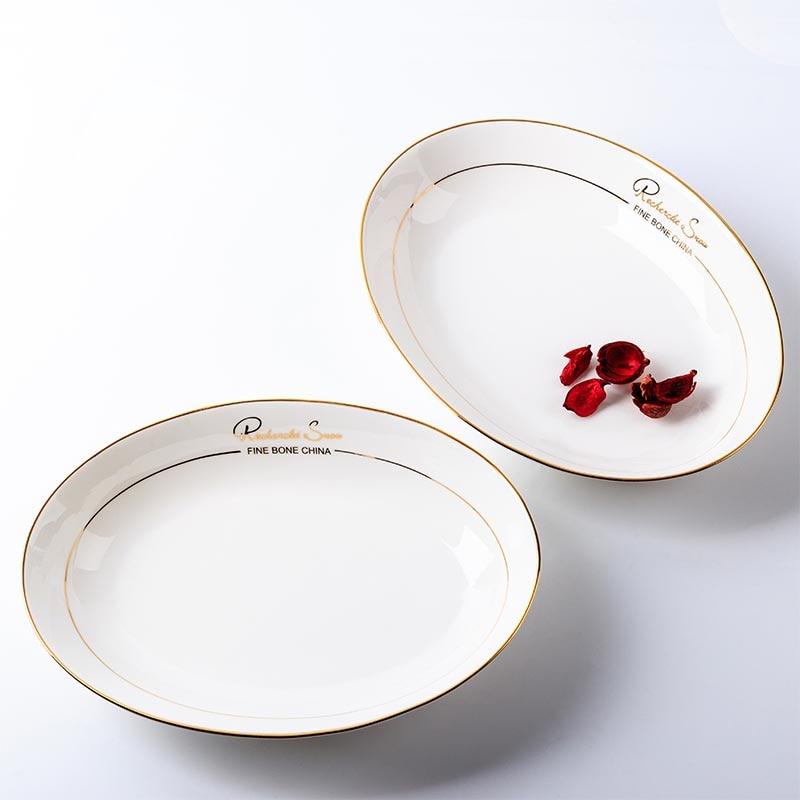 10in Premium plaqué or sur vitrages en céramique blanche en forme d'oeuf plat hôtel poisson plaque vaisselle fruits soucoupe profonde pour des cadeaux uniques