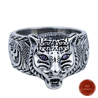100% S925 sterling silver new trend male ring retro craft animal design personality fashion cool simple gift hot sale 2019
