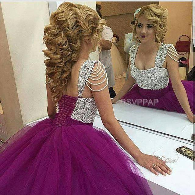 Nuevo Llega El vestido de Bola Púrpura Vestidos de Quinceañera 2017 Perlas de Tulle Puffy Lace Up Sweetheart Largo Dulce 16 Vestidos de Bola