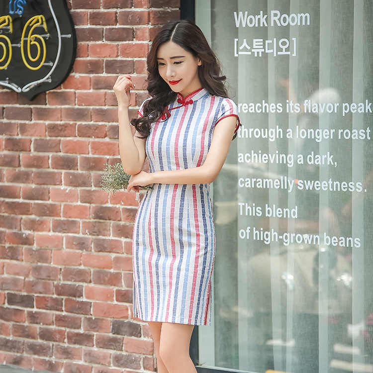 ... Hot Traditional Chinese Dress Colorful Stripe Cheongsam Cotton Evening  Dress Short Sleeve Qipao Dress Chinese Clothing ... ecc2cbc44c6c