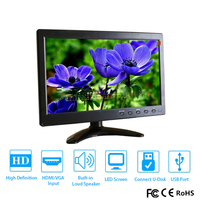 NEW 10.1 1280*800 LCD HD Monitor Mini Computer Display LED Screen 2 Channel Video Input Security Monitor With Speaker VGA HDMI