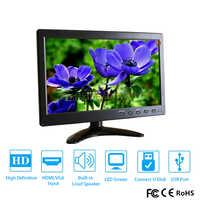 Monitor LCD HD de 10,1 pulgadas, minipantalla de ordenador, 2 canales, entrada de vídeo, de seguridad, con altavoz, VGA, HDMI, 1920x1200