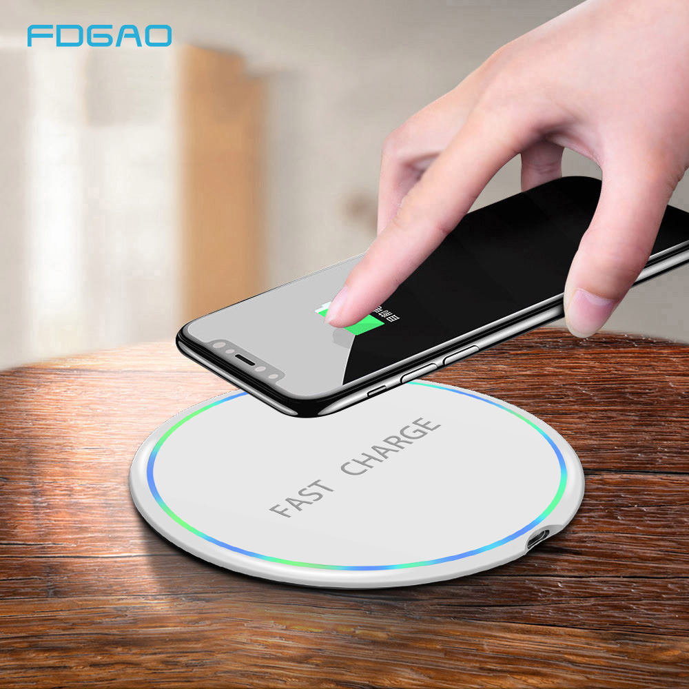 FDGAO Qi Wireless Charger For IPhone X Xs MAX XR 8 Plus 10W Fast Charging For Samsung S8 S9 Note 9 8 USB Smart Phone Charger Pad