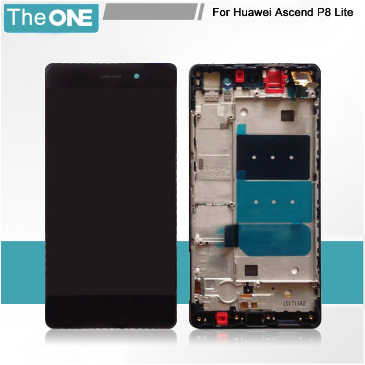 Black/White Full LCD DIsplay + Touch Screen Digitizer + Frame Cover Assembly For Huawei p8 lite Free Shipping+Tracking Code 1 pcs for iphone 4s lcd display touch screen digitizer glass frame white black color free shipping free tools