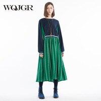 WQJGR оригинальный Дизайн 2018 новый летний женщина платье Зеленый шею длинным рукавом шить движения Винтажные наряды