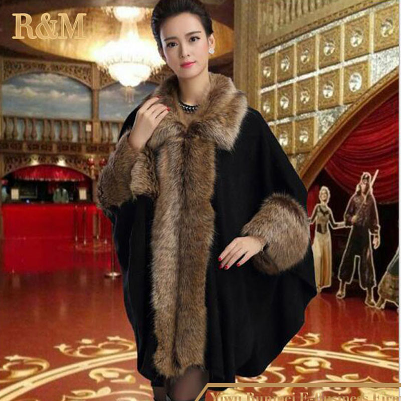 RUNMEIFA Winter Fashion Knitted Cardigan Women Bat Cape Shawl Collar Fashion Female women Faux Fur