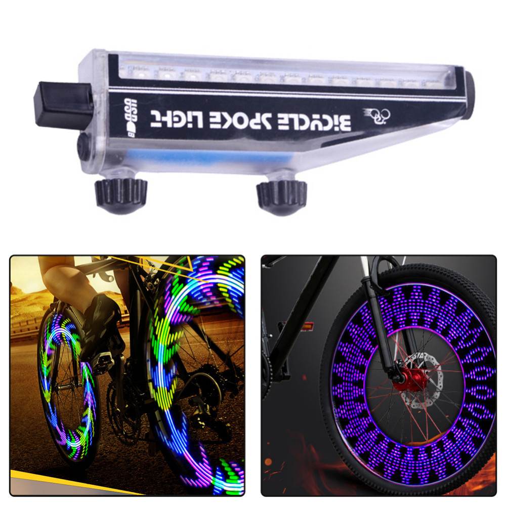 Cycling Wheel Spoke Light Bicycle Fire Wheel Full Color USB Direct Charging 14 LED 28 Change Bicycle Spoke Light Without Battery yy 601a 7led cycling bicycle hot wheels spoke decorative lamp 9 change pattern