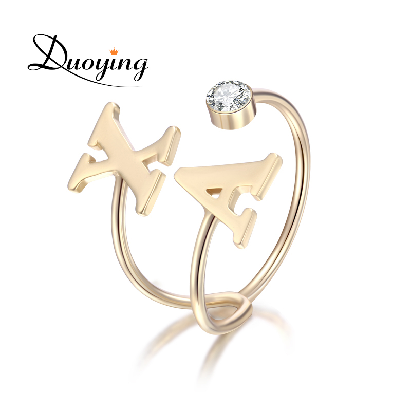 Duoying Doul Letter Birthstone Ring Gold Alphabet Love ...