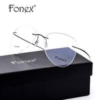 Titanium Rimless Aviation Eyeglasses Frames Men Glasses For Prescription Women Aviador Myopia Optical Frame Clear Lens