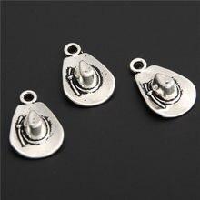 4e8fdcc82a56 10 unids encanto antiguo de plata Pulsera sombrero de vaquero encantos  collar colgantes accesorios de joyería de bricolaje A2879
