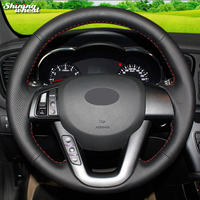 Shining wheat Hand stitched Black Leather Car Steering Wheel Cover for Kia K5 2011 2012 2013 Kia Optima
