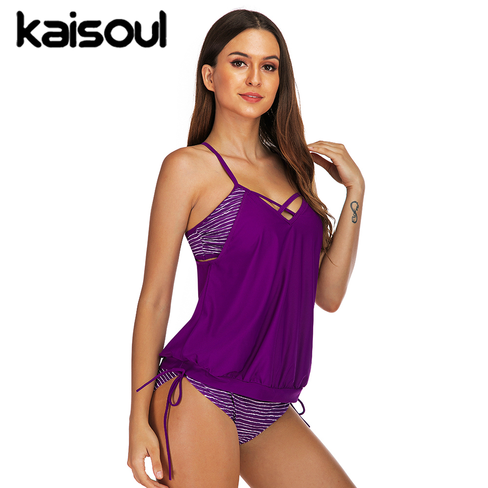 Striped Two Piece Swimsuit Banded Tankini Women Swimming Beachwear Sexy Bikini Swimwear New Arrival Push Up Purple