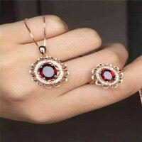 Direct wholesale Ring Necklace Pendant NATURAL GARNET 925 silver set natural gemstone