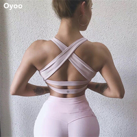 Oyoo Pink High Impact Push Up Sports Bra Women Backless Fitness Yoga Bra Gym Padded Running Athletic Tops Workout Clothing