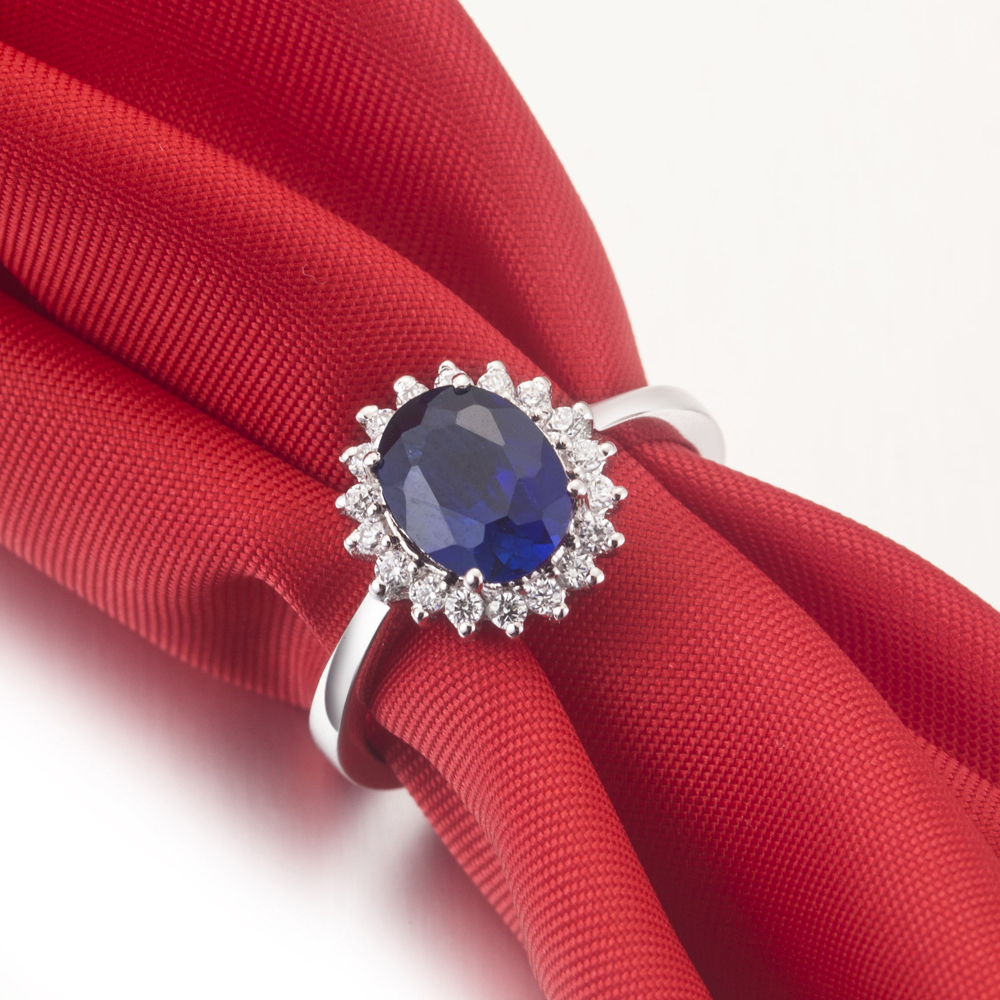 Wholesale Ring 15CT Synthetic Blue Diamonds Jewellery Engagement