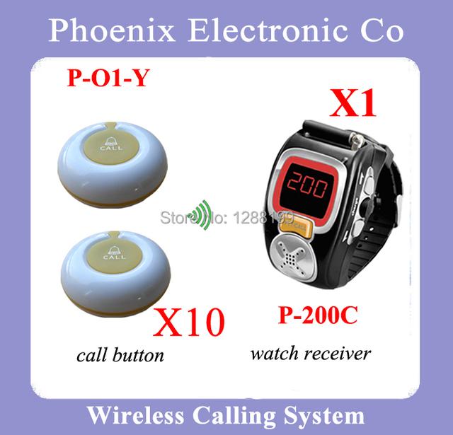 Sistema de Llamada Del Camarero Del Sistema Localizador inalámbrico Con Electrónica Timbre de Llamada Y Reloj Incluyendo 1 P-200C y 10 Zumbadores