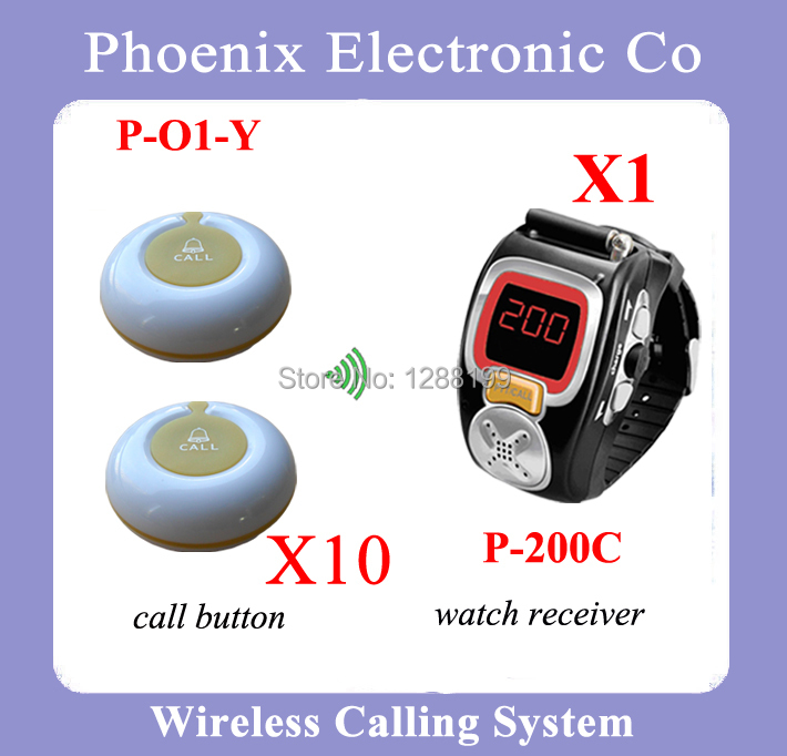 Wireless Pager System Waiter Calling System With Electronic Call Bell And Wrist Watch  Including 1 P-200C and 10 Buzzers restaurant pager watch wireless call buzzer system work with 3 pcs wrist watch and 25pcs waitress bell button p h4