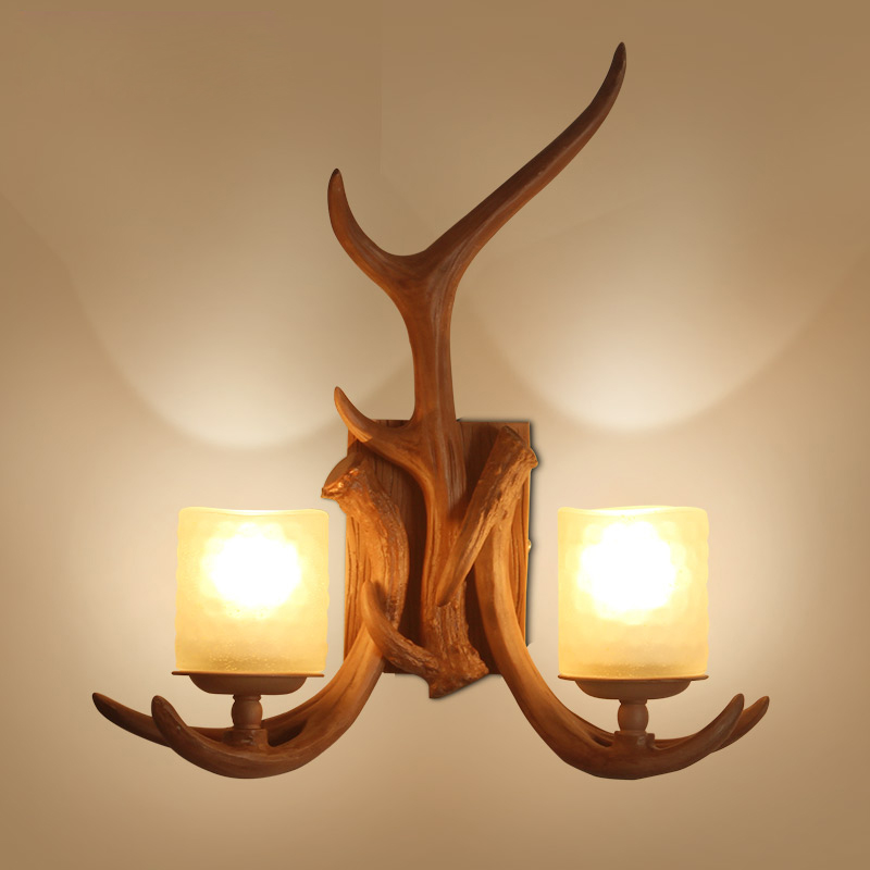 Retro Wall Lamp American Country Wall Light Resin Deer Horn Antler Lampshade Decoration Sconce 110 240V Loft Lighting