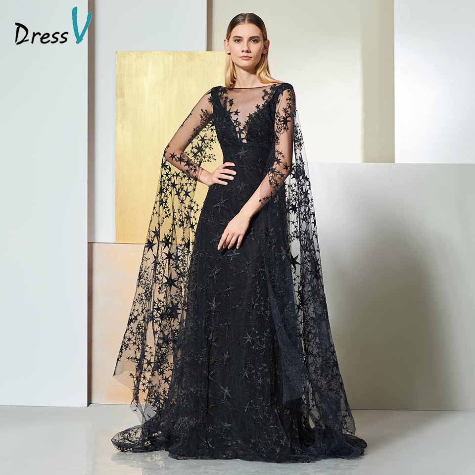 cf708f8ff5a6a Dressv black elegant off the shoulder evening dress long sleeves lace a  line wedding party formal dress evening dresses