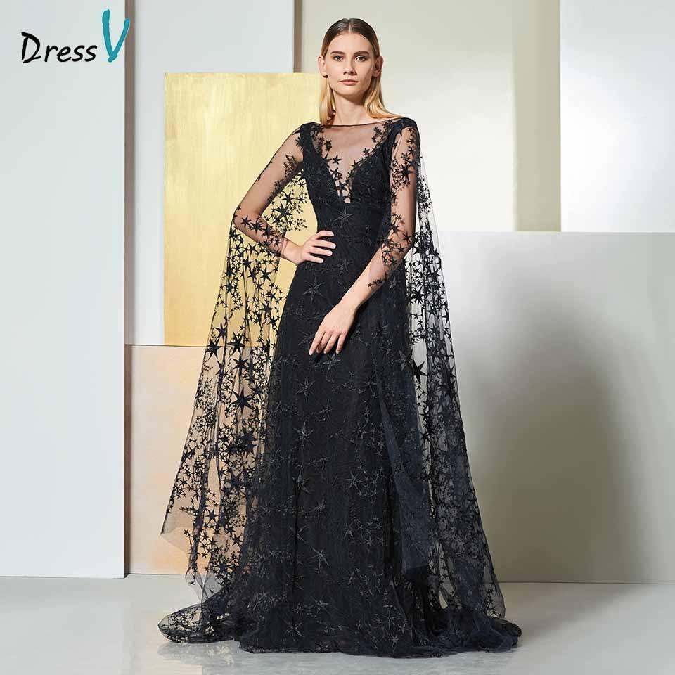 Dressv Black Elegant Off The Shoulder Evening Dress Long Sleeves Lace A Line Wedding Party Formal Dress Evening Dresses