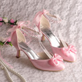 Wedopus Hot Selling Pink Satin Med Heel Spring Women Shoes Heels is Brides with Pearl Strap