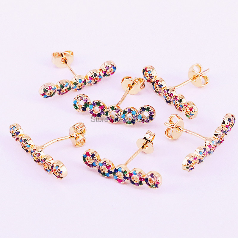 10Pairs 2019 Latest colorful cz Stud Earrings For Women New Fashion Elegant Small Round Bar Earrings