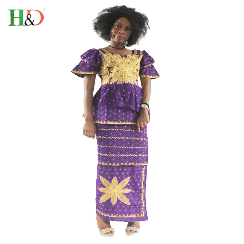 H D 2017 new African bazin riche dress for women traditional Lace embroidery 100 cotton short