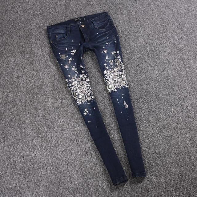 European Station 2019 Autumn new diamonds pencil jeans women s slim nine  diamonds bling bling jeans pants a512269c0656