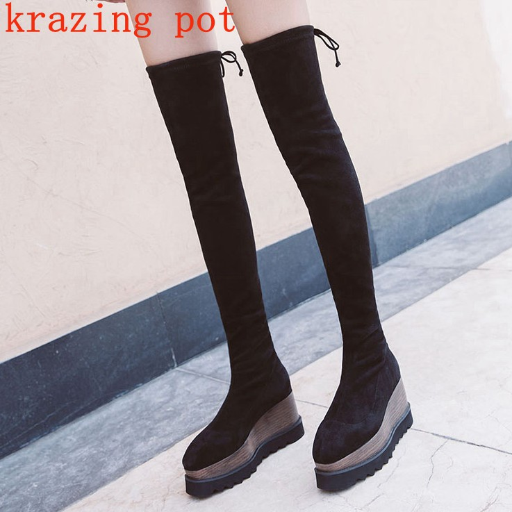 Krazing Pot new flock original designer wedges high heels keep warm streetwear fashion increased stretch over-the-knee boots L31 krazing pot flannel stretch boots winter keep warm wedges high heels leisure long legs beauty fashion over the knee boots l31