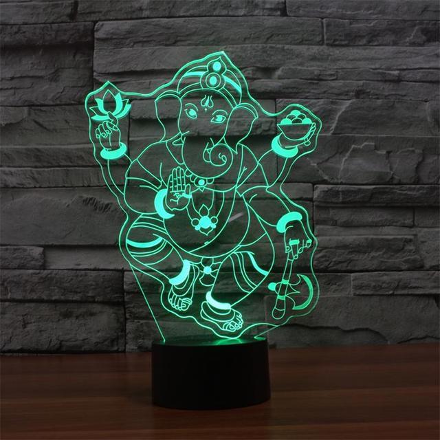 Elephant God Ganesh Table Lamp 3D Effect