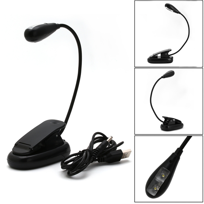 HNGCHOIGE Flexible Single Arm 2 LED Lamp Clip On Light For Book Reading in Book Lights from Lights Lighting
