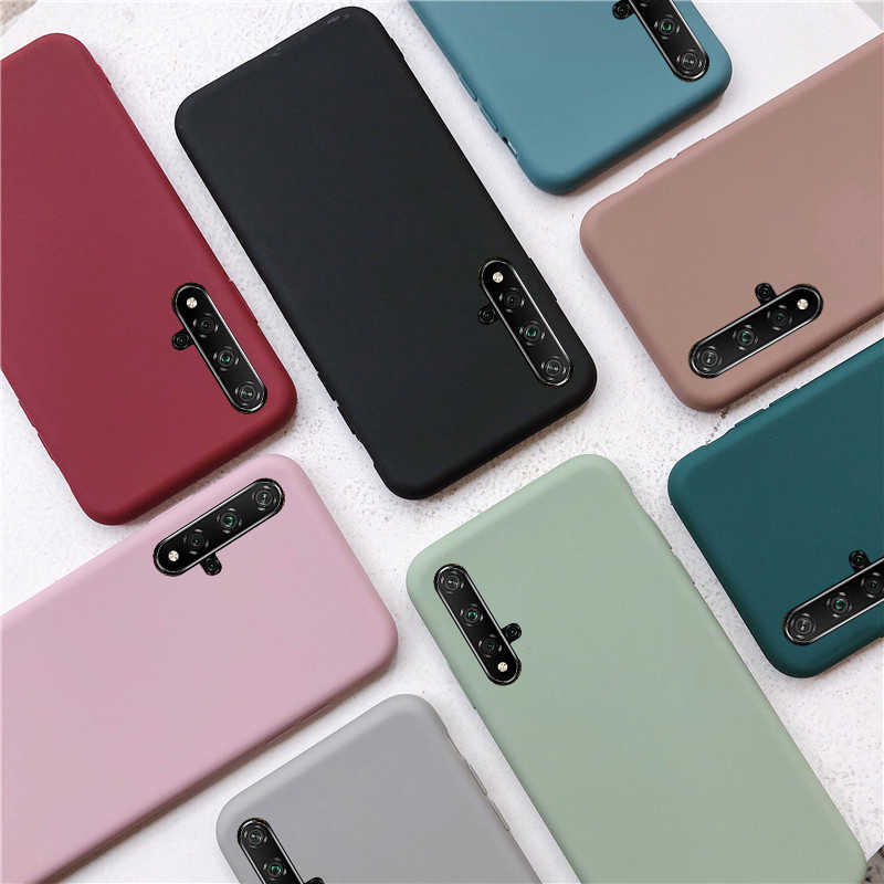 Solid Color Silicone Case For Huawei Y7 Pro Y9 Prime Y6 Y5 2019 P Smart Z P30 Lite P20 Pro Nova5 Honor 20 10i 20i 8A 8C 8X Cover
