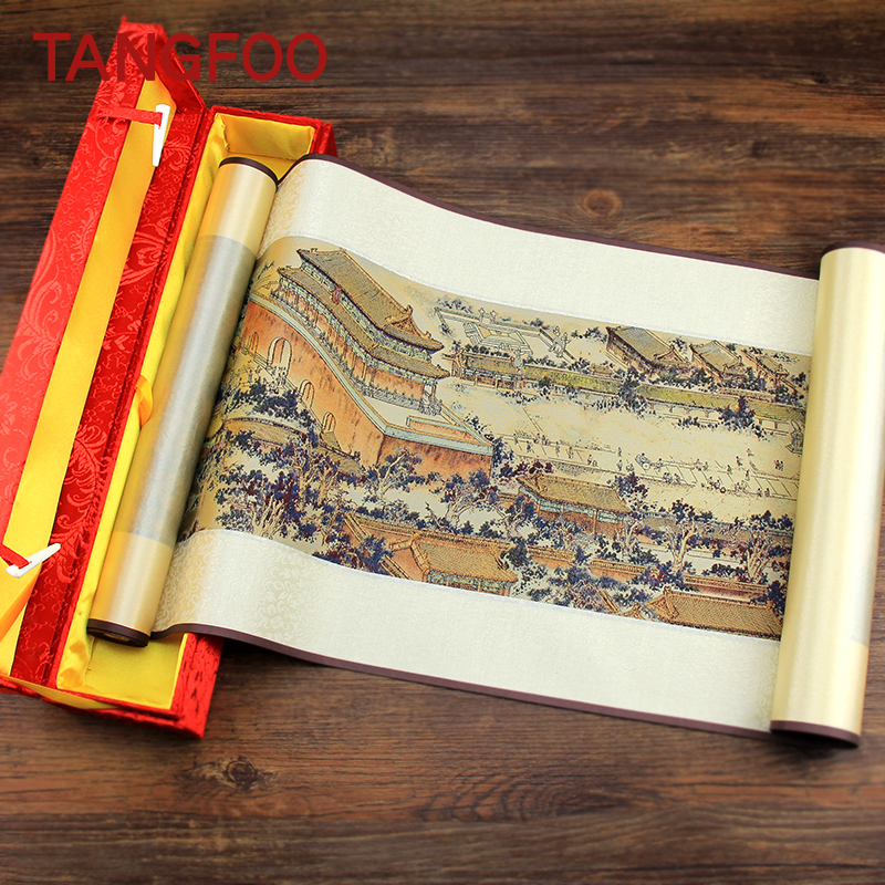 High Quality Silk brocade Scroll Painting Chinese craft the Imperial Palace panorama paint  business gift office room home decor