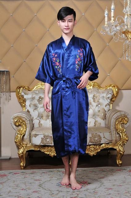 Caliente venta Navy azul de primavera chino Hombres de satén de seda Robe bordado del Kimono de Bath Hombres Pijama tamaño sml XL XXL XXXL MR-019