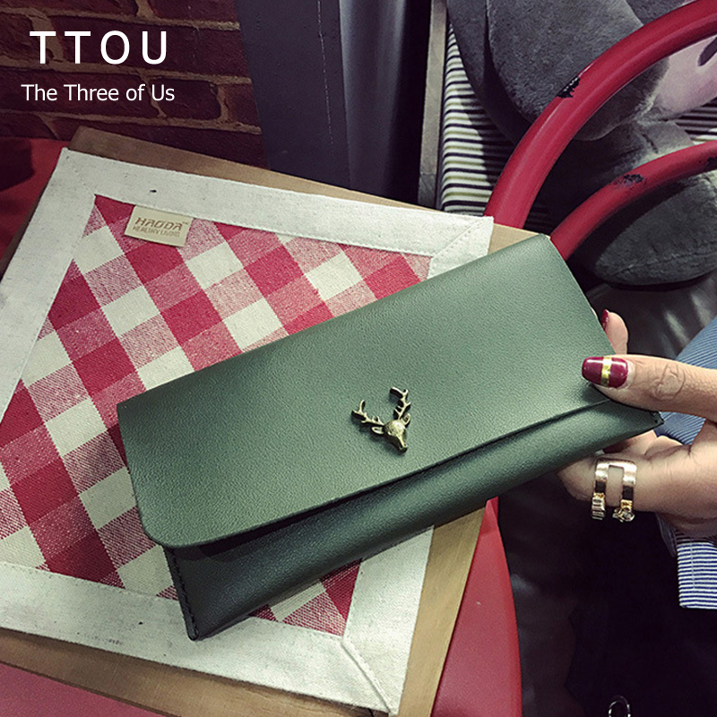 TTOU Quality Leather Long Fashion Women Wallets Designer Brand Clutch Purse Girl Party Wallet Female Card Holder Teenager Wallet aim fashion women s long clutch wallet and purse brand designer vintage leather wallets women bags high quality card holder n801