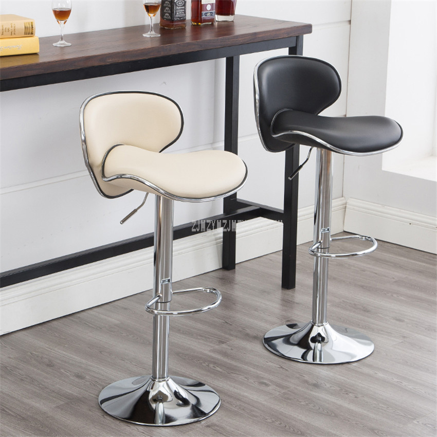 Bar Chairs Furniture Stainless Steel Swivel Bar Counter Chair Rotating 58-78cm Adjustable Height High Barstool Bar Chair With Backrest Soft Cushion Lustrous Surface