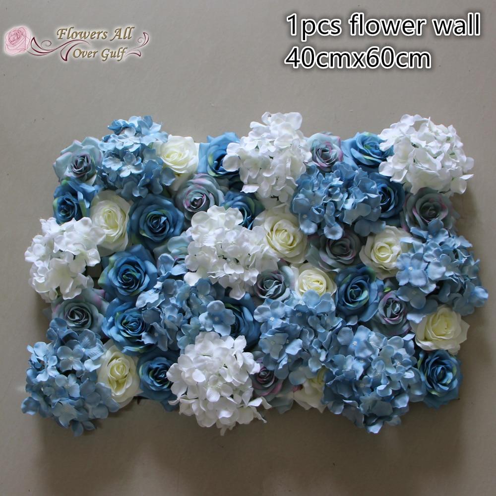 Best Artificial flower wall white blue silk rose wedding background  JZ99